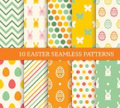 Ten retro different easter seamless patterns. Endless texture for wallpaper, fill, web page background, texture. Colorful cute background with easter bunny and ornate eggs.