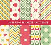 Ten retro different spring seamless