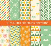 Ten retro different summer seamless patterns
