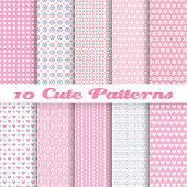 Ten seamless pink vector wallpaper patterns