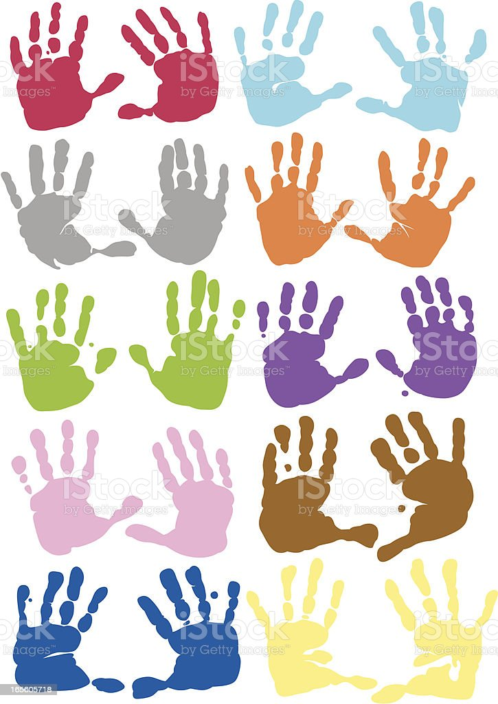 Ten sets of handprints in different colors vector art illustration