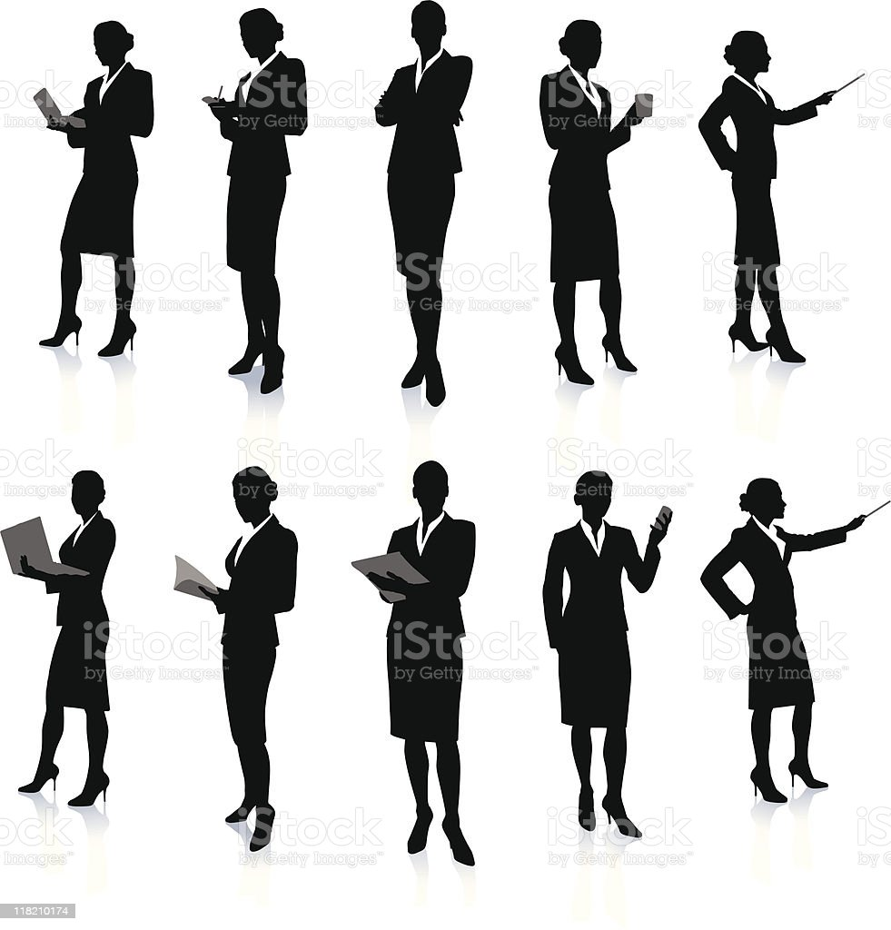 Ten silhouettes of a business woman at work royalty-free ten silhouettes of a business woman at work stock vector art & more images of adult