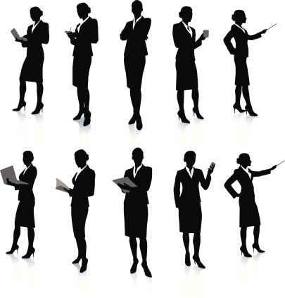 Ten silhouettes of a business woman at work
