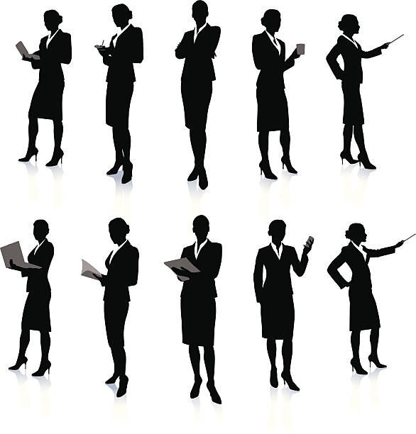 Ten silhouettes of a business woman at work http://www.bannerimage.com/istock/a_bw.gif looking at camera stock illustrations