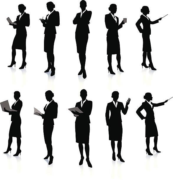 bildbanksillustrationer, clip art samt tecknat material och ikoner med ten silhouettes of a business woman at work - bildteknik