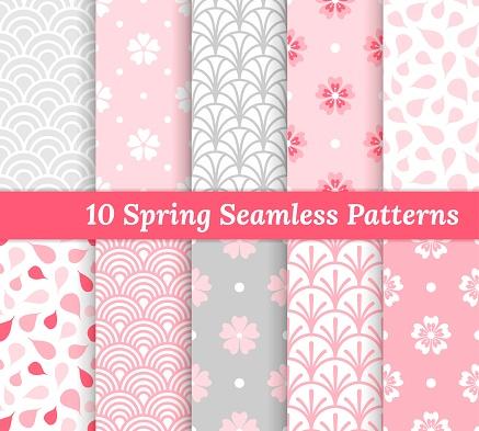 Ten spring seamless patterns. Pink and gray romantic backgrounds. Endless texture for wallpaper, web page, wrapping paper and etc. Retro style. Flowers, waves and petals.