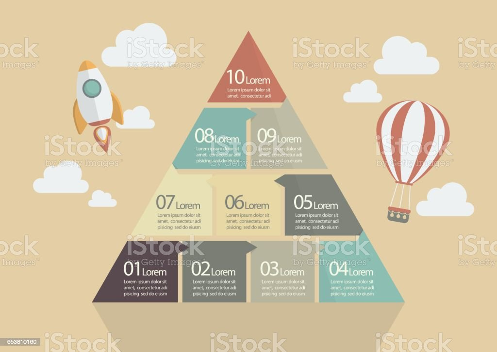 Ten Step of Pyramid Chart Infographic vector art illustration