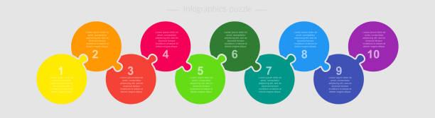 ilustrações de stock, clip art, desenhos animados e ícones de ten steps parts piece puzzle circles infographic. - inteiro