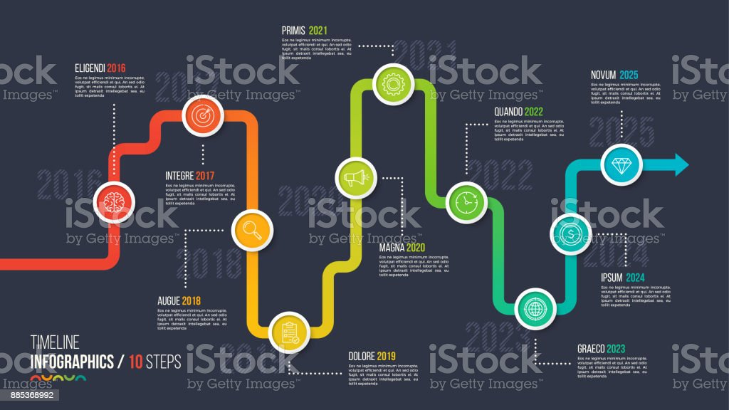 Ten steps timeline or milestone infographic chart. vector art illustration