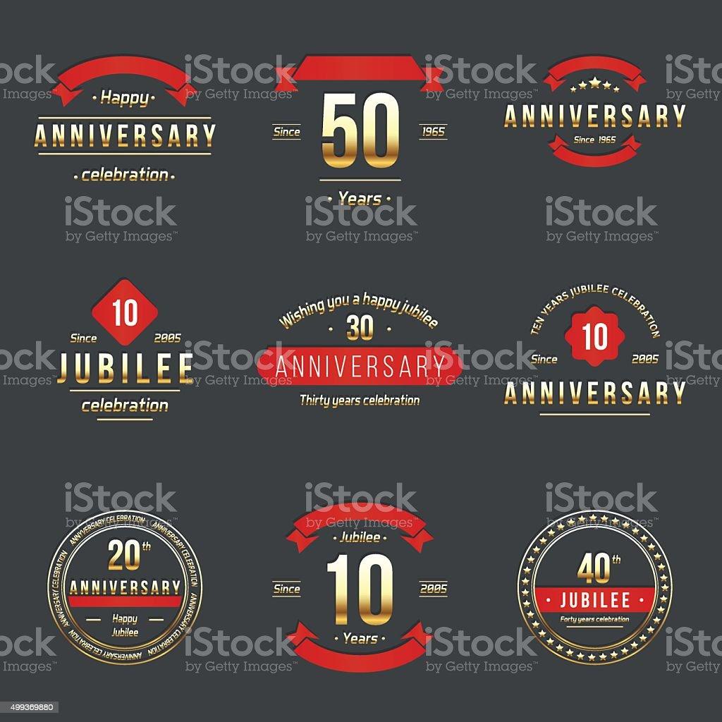 De diez, veinte, treinta, cuarenta, cincuenta años jubelee logo conjunto. - ilustración de arte vectorial