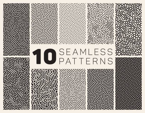 ten vector seamless organic patterns - organic stock illustrations, clip art, cartoons, & icons