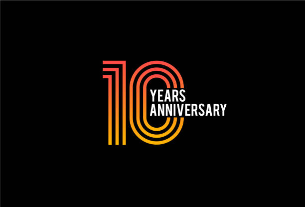 Ten Year anniversary design vector art illustration