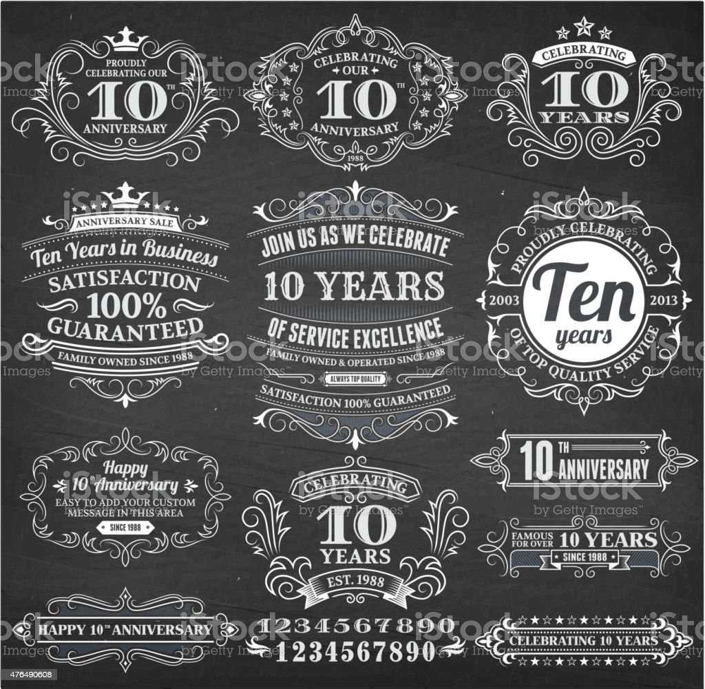 ten year anniversary hand-drawn chalkboard royalty free vector background vector art illustration