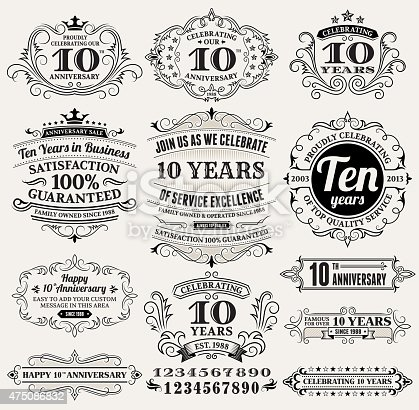ten year anniversary hand-drawn royalty free vector background on paper. This image depicts a paper background with multiple anniversary announcement designs. The beige paper background serves a perfect backdrop for making the anniversary announcements look authentic and elegant. The hand-drawn design are unique and intricate in design and are ideal for your anniversary design announcements.