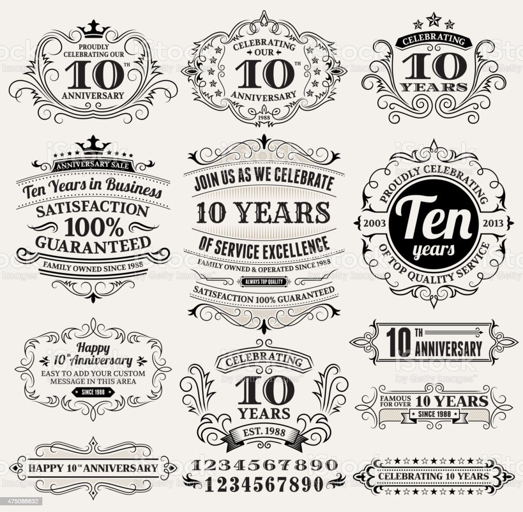 ten year anniversary hand-drawn royalty free vector background on paper vector art illustration