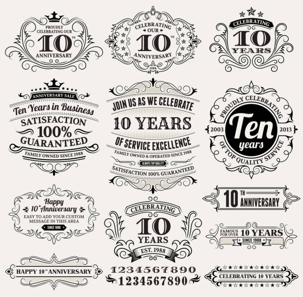 ten year anniversary hand-drawn royalty free vector background on paper - anniversary drawings stock illustrations