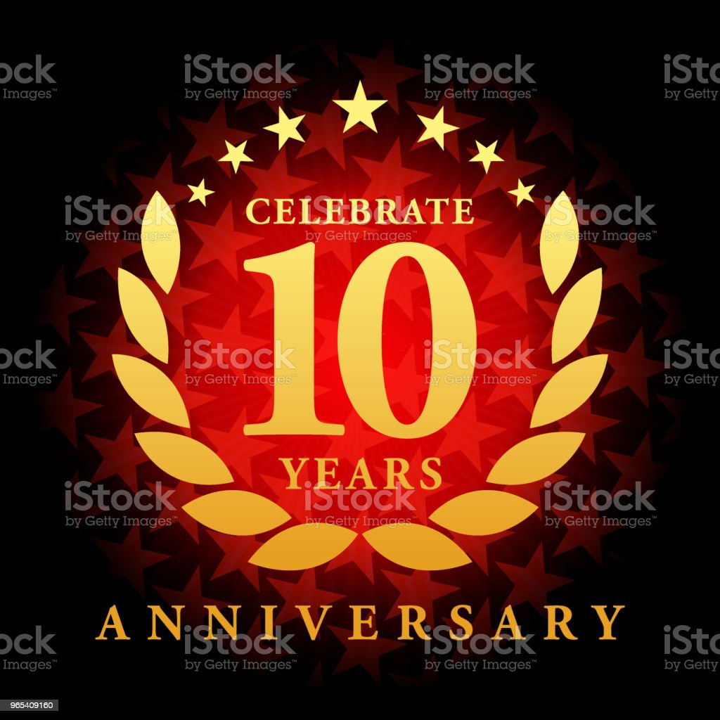 Ten year anniversary icon with red color star shape background royalty-free ten year anniversary icon with red color star shape background stock vector art & more images of 10th anniversary