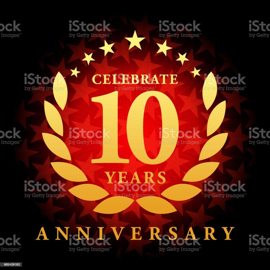붉은 색 별 모양 배경 10 년 주년 아이콘 - 로열티 프리 10 벡터 아트