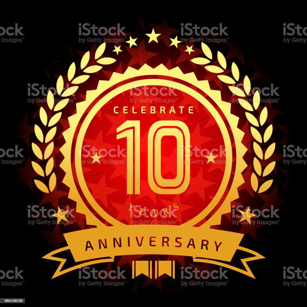 Ten year anniversary icon with red color star shape background royalty-free ten year anniversary icon with red color star shape background stock illustration - download image now