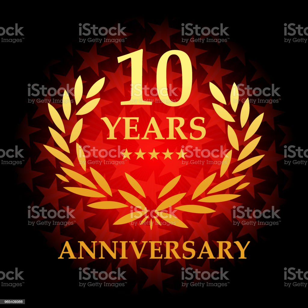Ten year anniversary icon with red color star shape background ten year anniversary icon with red color star shape background - stockowe grafiki wektorowe i więcej obrazów baner royalty-free