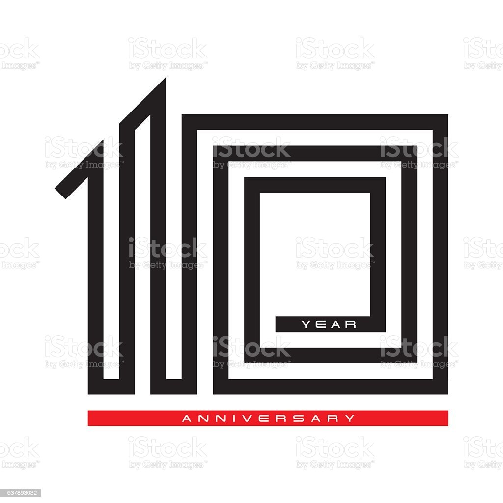 Ten year celebration anniversary for design logo concept, vector vector art illustration