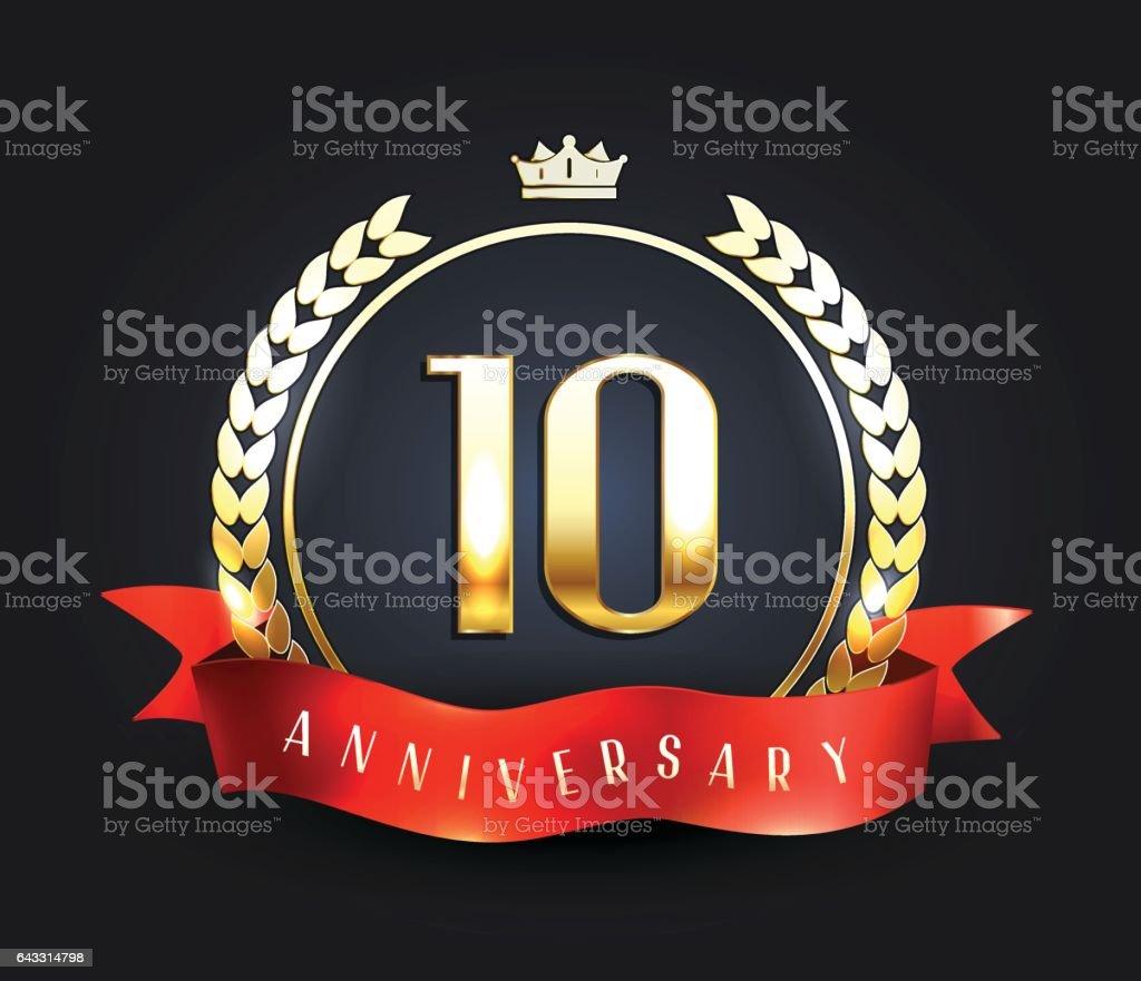 Ten Years Anniversary Banner 10th Anniversary Logo With Ribbon Stock