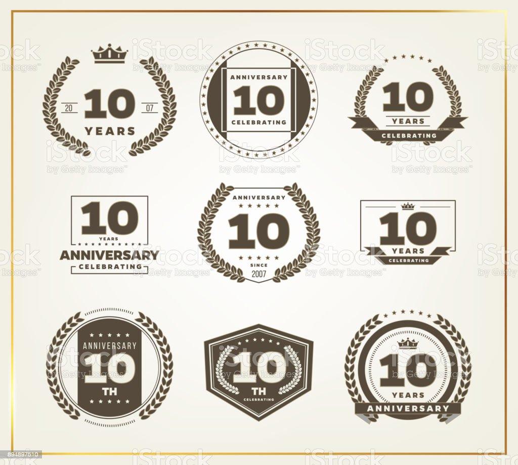 Ten Years Anniversary Celebration Logotype 10th Anniversary Logo Set