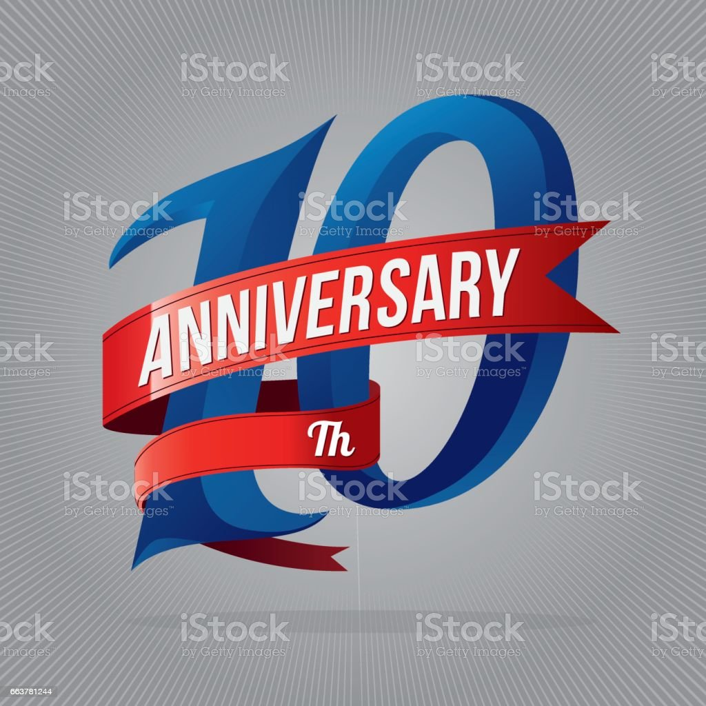 ten years anniversary celebration logotype. 10th anniversary logo with gray background vector art illustration