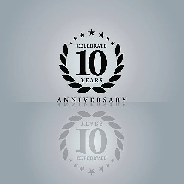 Ten Years Anniversary Emblem Vector of black color 10 years anniversary emblem. This illustration is an EPS10 file and contains transparency effects. anniversary icons stock illustrations