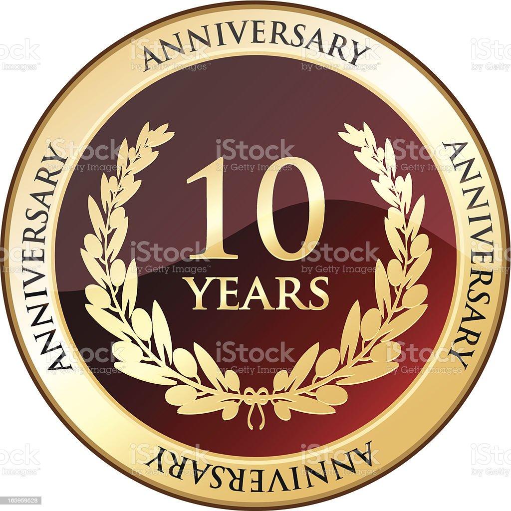 Ten Years Anniversary Golden Shield vector art illustration