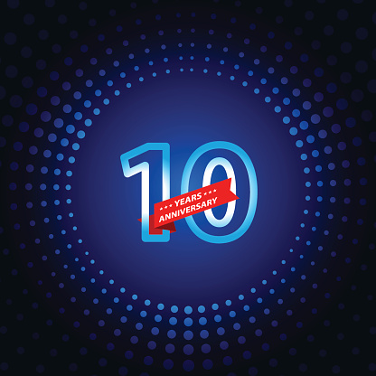 Vector of ten years anniversary icon with blue color dot pattern background. EPS Ai 10 file format.