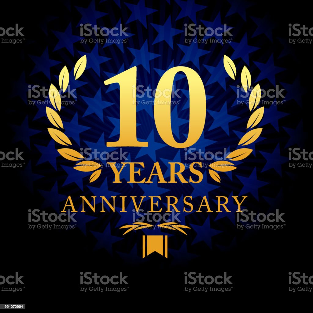 Ten years anniversary icon with blue color star shape background - Royalty-free 10th Anniversary stock vector