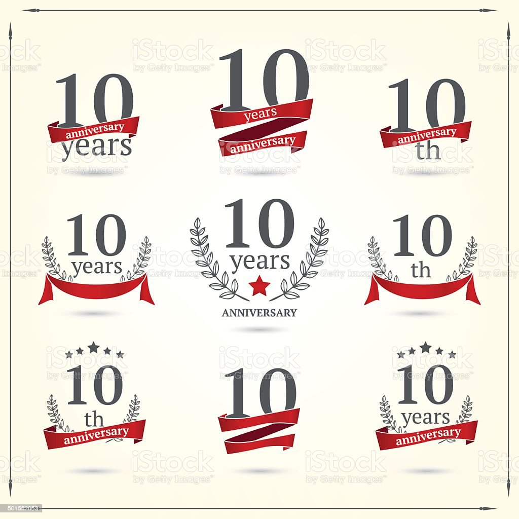 Ten years anniversary icons collection vector art illustration