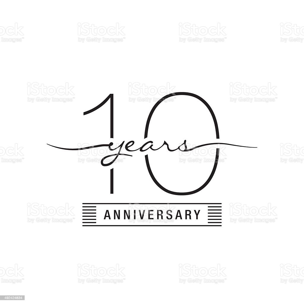 Diez años aniversario - ilustración de arte vectorial