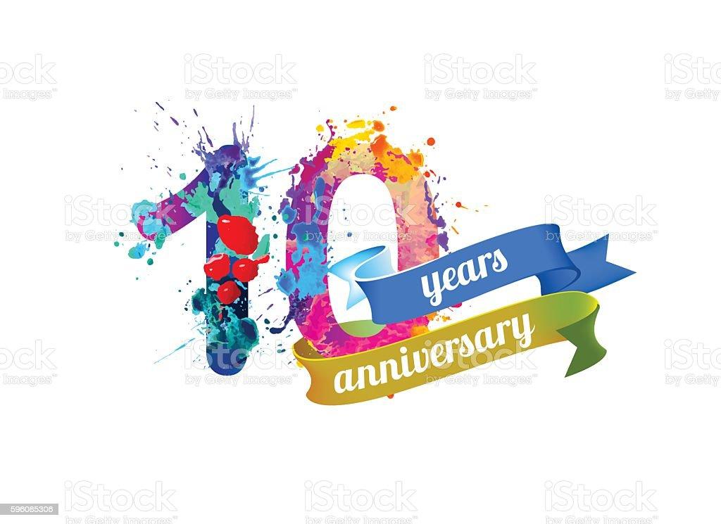 ten years anniversary. royalty-free ten years anniversary stock illustration - download image now