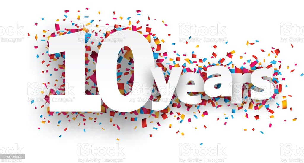 Ten years paper confetti sign vector art illustration
