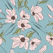 Tender blush flowers on blue background, pastel vintage style decoration. Plant leaf pastel greeting design. Floral background.
