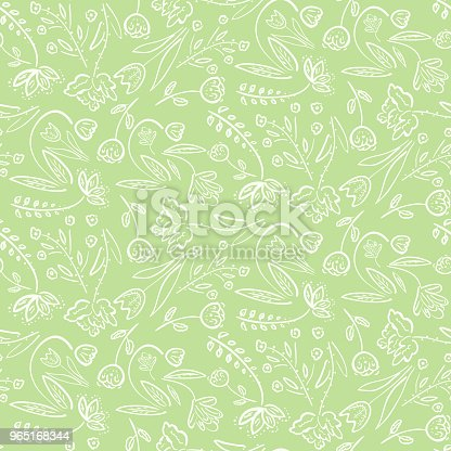 Tender Green Pattern With Spring Flowers Stock Vector Art & More Images of Abstract 965168344