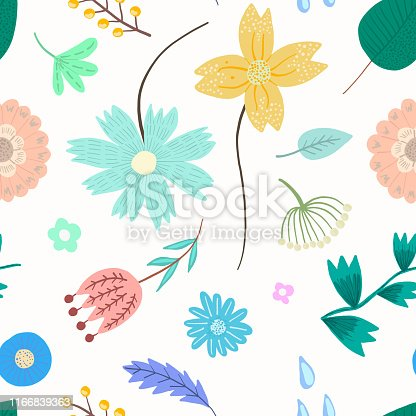 Tender light floral seamless pattern with pastel colors flowers and leaves on white background. Lovely floral texture with blossoms and herbs for textile, wrapping paper, surface, wallpaper