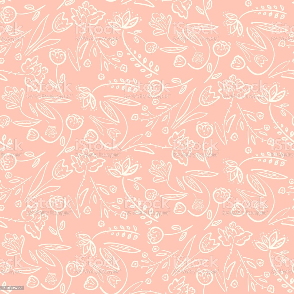 Tender pink pattern with spring hand drawn flowers vector art illustration