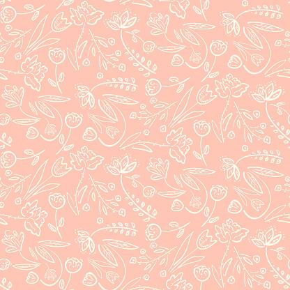 Tender Pink Pattern With Spring Hand Drawn Flowers — стоковая векторная графика и другие изображения на тему Абстрактный