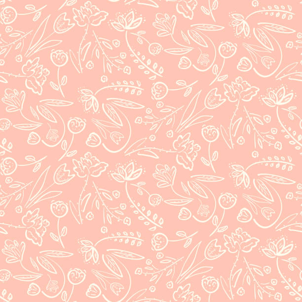 tender pink pattern with spring hand drawn flowers - floral pattern stock illustrations, clip art, cartoons, & icons