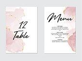 Tender rose violet pastel liquid flow. Watercolor splash, alcohol ink art on wedding template:table number, meny design