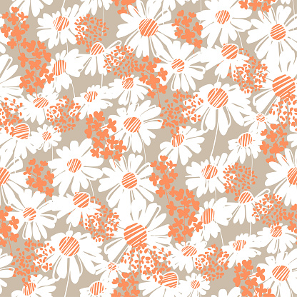 Tender white daisy flower seamless pattern for fabric, textile, wrap, surface, web and print design. Shabby style Chamomile vector illustration.