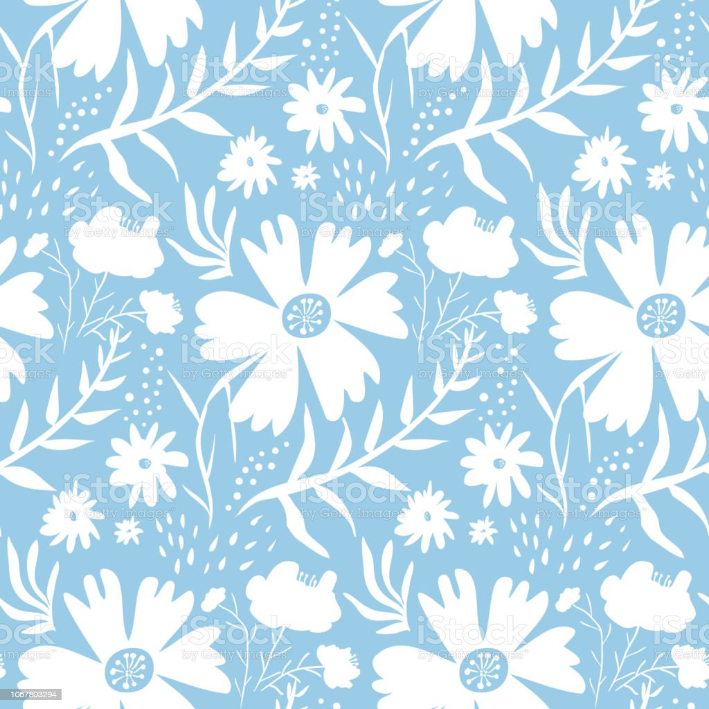 Tender White Floral Pattern On Blue Background Stock Illustration