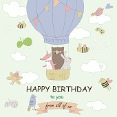 Birthday card with cute forest animals on air ballon, clouds, bees and butterflies in cartoon style