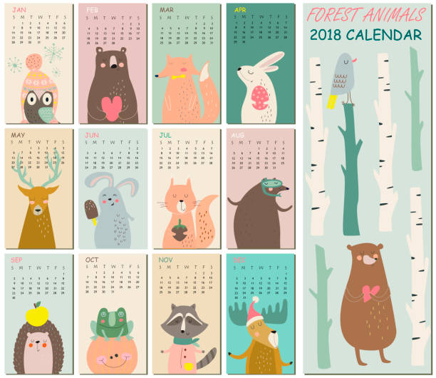 tendercalendar2018 - birds calendar stock illustrations, clip art, cartoons, & icons