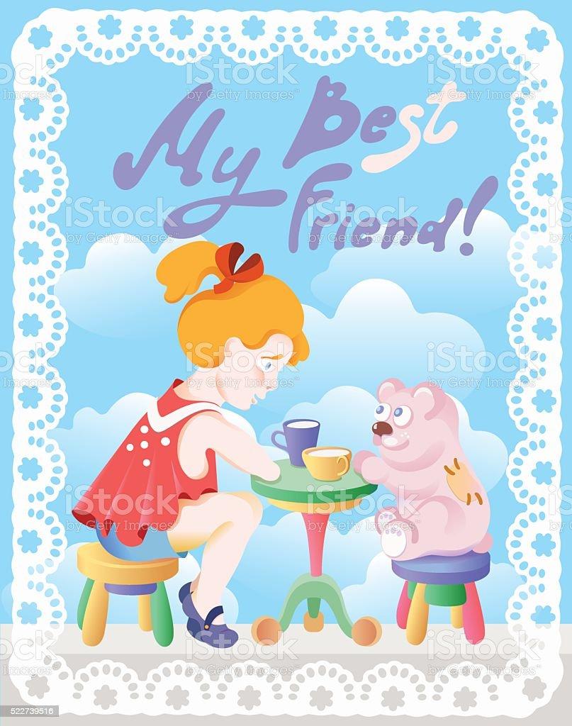 Tenderness. Girl with teddy bear -  friends vector art illustration