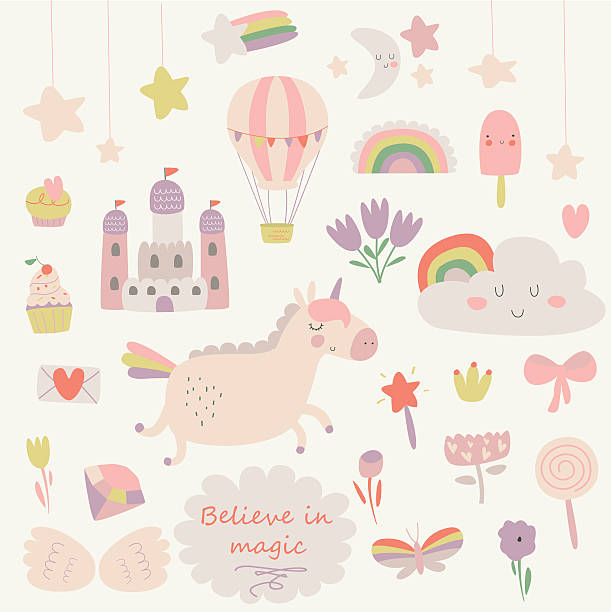 tenderunicornset - baby party stock-grafiken, -clipart, -cartoons und -symbole