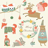 Christmas set with forest animals in cartoon style. Cute owl, birds, running reindeer, bear, hare, fox, squirrel and flowers.